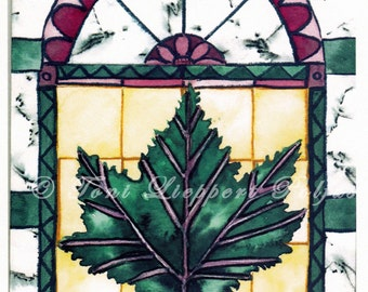 Maple Leaf Cathedral Painting, 5'' x 7'' print of original watercolor painting, Italy Church, birch bark painting, maple painting