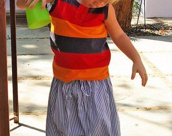 Boy's Harem pants, Sarouel, Saroual, 6-7 years, baggy, blue stripes pants, summer pants, beach, holidays, boho, boy
