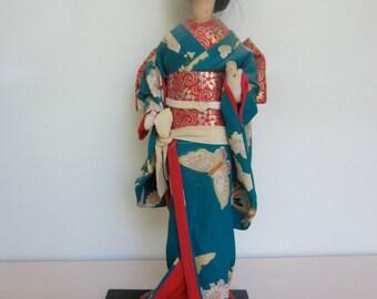 Vintage Japanese Silk Geisha Doll
