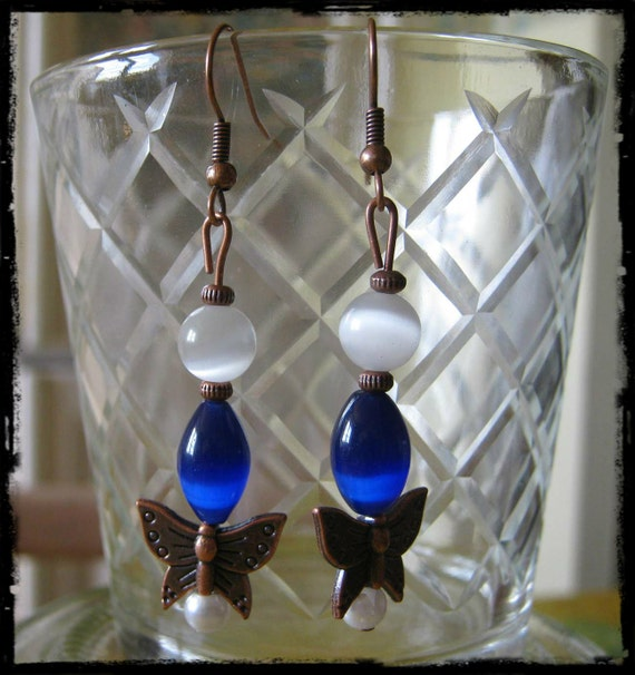 Handmade Copper Hook Earrings with Blue Opal, White Cat Eye, Pearl & Butterfly by IreneDesign2011