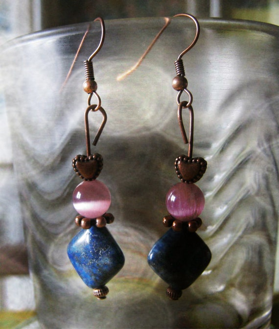 Handmade Copper Hook Earrings with Lapis Lazuli and Pink Cat Eye by IreneDesign2011