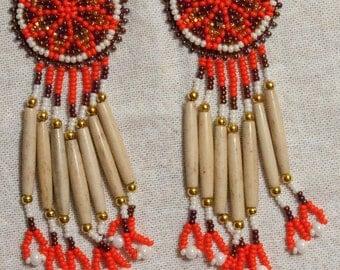 0154 Large Rossette Bone Earrings