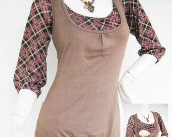 Maternity Clothes / Nursing Tops / Breastfeeding Shirt / BECCA NEW / TARTAN Mocha Maternity Clothing/ Nursing Clothes / Pregnancy Clothes
