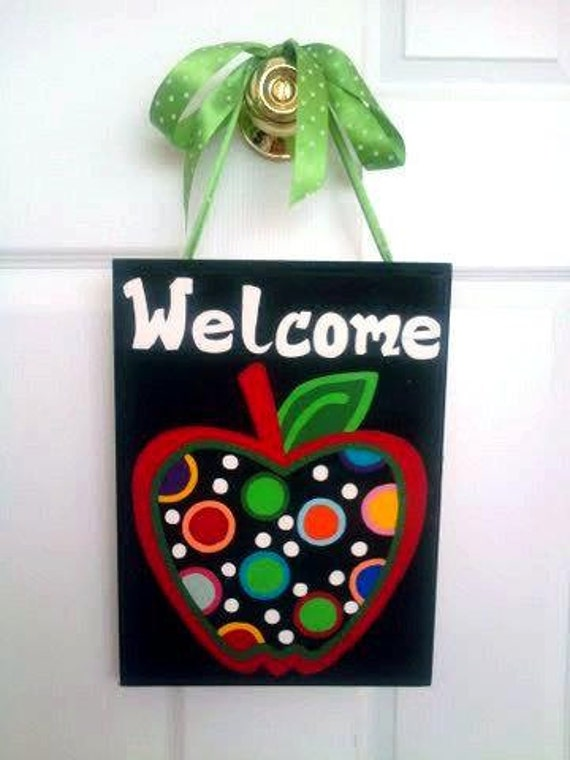 Apple Teacher Door or Classroom Sign - cute painted apple signs - teacher signs - teacher gifts