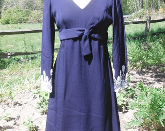 1940's Cocktail Dress, Navy with White Beading, Size M