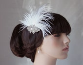 White Headpiece Feather Bridal Fascinator Antique Brooch Wedding Hair Accessory