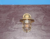 Vintage Brass Salvaged Bulkhead Light with Brass Shade- Restored, Rewired and Ready for use!