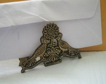 Vintage Napkin Holder Letter Holder Shalom Peacock Souvenir Jerusalem 5 Inches X 3.5 Inches Slight Wear Hanukkah Gift