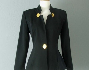 80s Glam Rock Black Jacket With Gold Hardwear