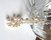 Dangling Freshwater Pearl Cascade // White Round Pearls // AA Freshwater Pearls // Cascading Pearls // Wedding Earrings