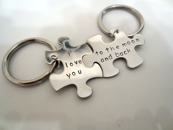His & Hers Personalized puzzle keychain