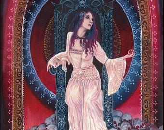 Persephone Goddess of the Underworld ACEO ATC Mini Print Altar Art Pagan Mythology Bohemian Gypsy Witch Goddess Art