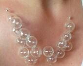 Glass Bubble Necklace, Clear Bubble Necklace, Bubble Statement Necklace