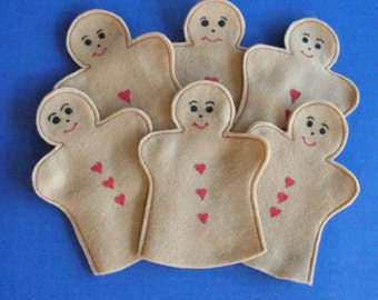 Gingerbread Party Favor Puppets Set of 6