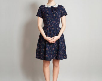 navy fit and flare dress Thorned Rose dress Supayana