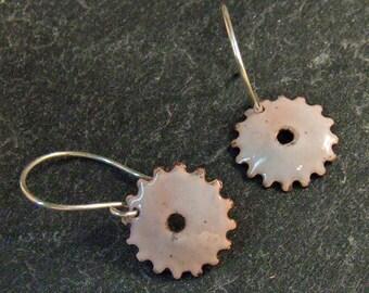 On SALE LAST PAIR - Rustic White Gear Earrings - Copper Enamel on Handmade Sterling Silver Dangly Wires - Steampunk Jewelry