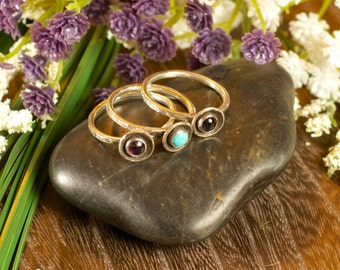 Itty Bitty Stacker Ring- semi-precious stone, recycled sterling silver