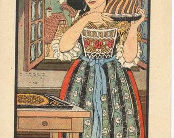 Vintage French Postcard Alsacienne 1918 full color