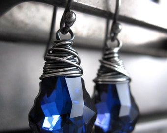 Electric Blue Crystal Earrings - Vibrant Bright Cobalt Blue Swarovski Crystal Earrings, Oxidized Sterling Silver Wire Wrapped Earrings