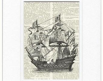 sail ship, 16th century galleon ship print