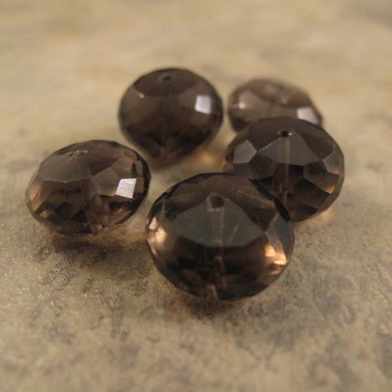 5 Smoky Quartz Beads, Large Faceted 8mm - 10mm Rondelles, Set of Five (5) Natural Gemstone Beads, Jewelry Supplies (L-Sq5)