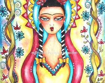 Art Print, 5 x 6.5, Mexican Madonna Frida Kahlo Mexican Art, Spiritual, Religious, Girl Art, Watercolor Illustration, Red Yellow