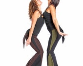 Tribal bellydance pants, yoga pants with attached skirt - FAIRY PANTS - Color of your Choice with Black, elven festival clothing