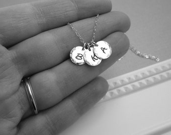 Mothers necklace, silver initial necklace, grandmothers necklace, three custom initials, childrens initials sterling silver Mothers Day gift