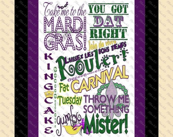 Mardi Gras Printable Subway Art Graphic Design Instant Download