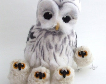 Needle felted Ural Owl Life Sized Collectible Art Doll Owl, Felt Bird Ornament
