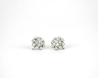 1950s Earrings / Vintage Rhinestone Cluster Clip Ons