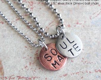"SOUL MATE necklace set.. Couples, Boyfriend Girlfriend, Wedding, Engagement .. 18"" Customize Tag, Personalize, Monogram, Initials, Monogram"
