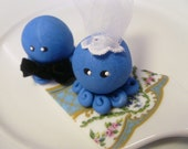 Octopus Wedding Couple Cake Topper Custom Color Set of Two  Bride and Groom Shown in Turquoise and Pearl Swirl