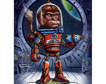 Captain Monk-o-tron 5000 Signed 8 x 10 print