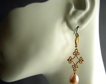 Real Freshwater Pearl Earrings - Gold Filigree Large Teardrop Pearls Wedding Perfect CLEARANCE