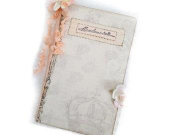 Parisian Mademoiselle Journal, Kraft Journal Diary, Travel Notebook, Pale Pink Sparkles, Pale Pink Paris Journal
