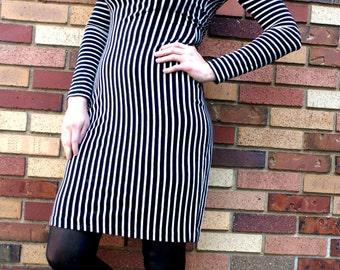 80's Black and White Striped Contempo Casuals Dress with Semi Detached Sleeves