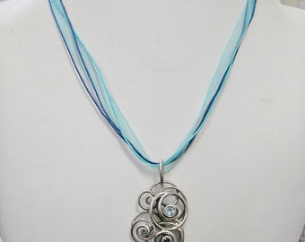 Swirl Necklace, BLUE TOPAZ & SAPPHIRE, Sterling Silver, length adjustable