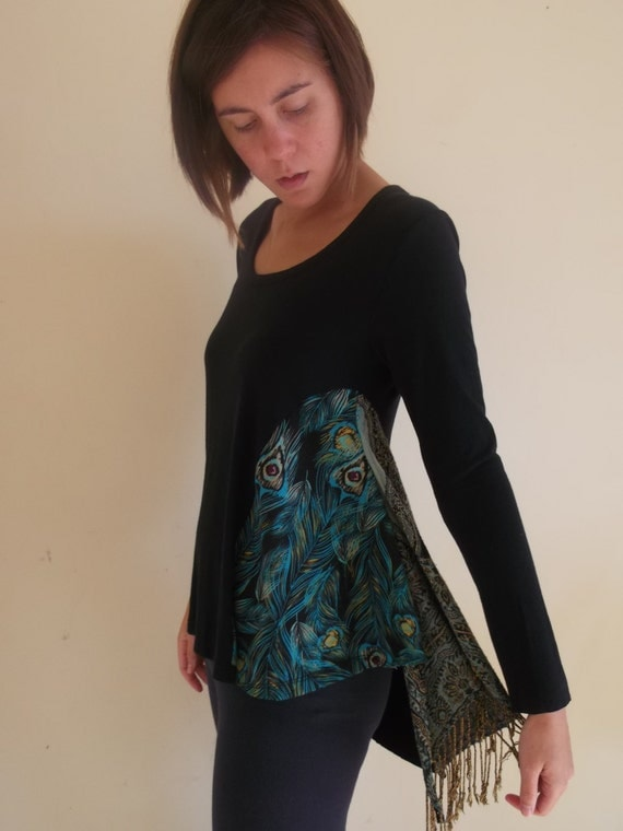 S black peacock upcycled long sleeve tee - small