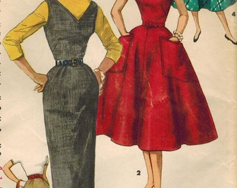 1950s Simplicity 1235 Vintage Sewing Pattern Junior Misses Dress, Jumper, Skirt Size 11 Bust 29
