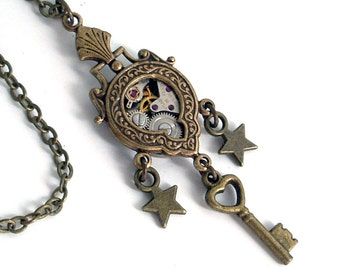Steampunk Airship Medal - Steampunk Necklace Handmade Jewelry