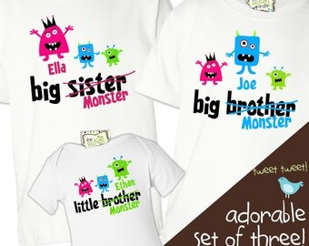 Matching sister brother li'l MONSTER sibling shirts matching set of three for ANY combination