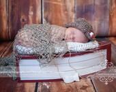Newborn Photo Prop, Baby Fishing Hat, Crochet  Fisherman Hat, Gone Fishin' Hat,  Newborn Photography Size Newborn, Color Brown Tweed