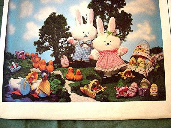 Vogue Stuffed Bunny Sewing Easter Pattern UNCUT Stuffed Bunny Rabbit, Duck, Basket, Eggs, Goose