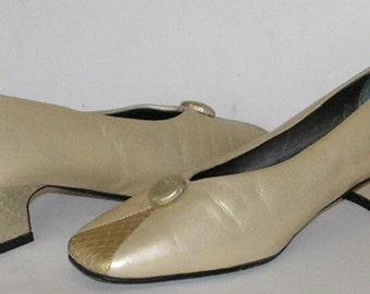 Vintage Bellini Shoes - Leather Shoes - Mod Chunky Low Heels - Pearl Snakeskin - Sixties