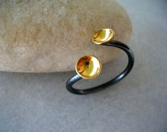 tiny gold plated sterling silver cups oxidized ring. Handmade adjustable black and gold sterling silver ring