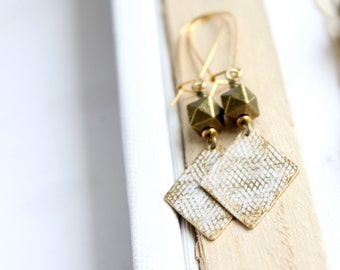 SALE - White Diamond Dangle Earrings - Faceted Gold Brass, Honeycomb Texture, Rustic Patina, Long Boho Jewellery