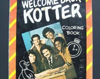 "Vintage Book 1977 Coloring Book Whitman Publishing ""Welcome Back Kotter"" Classic 1970s TV Icon John Travolta Mr Kotter TV Show"
