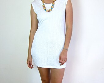 White 1980's Stretch Mini Dress
