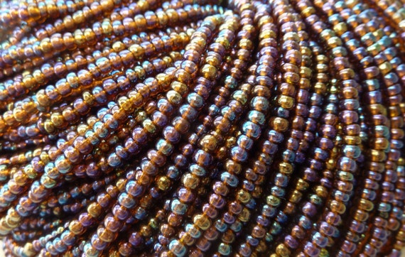 8/0 Transparent Topaz Rainbow Luster Czech Glass Seed Bead Strand (C111)